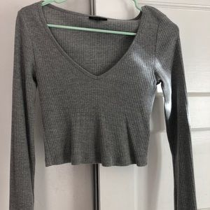 Gray cropped long sleeve